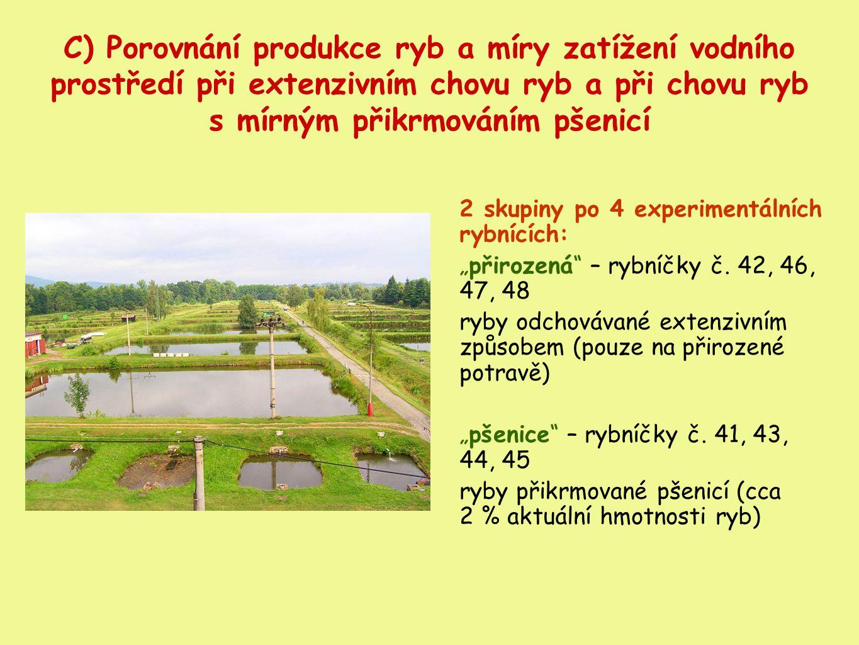 C) Porovnání produkce ryb a míry zatížení vodního prostředí při extenzivním chovu ryb a při chovu ryb s mírným přikrmováním pšenicí