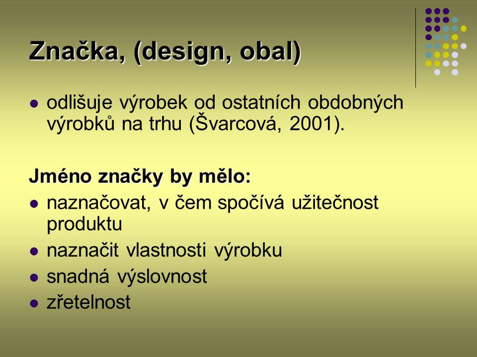 Značka, (design, obal) odlišuje výrobek od ostatních obdobných výrobků na trhu (Švarcová, 2001). Jméno značky by mělo: