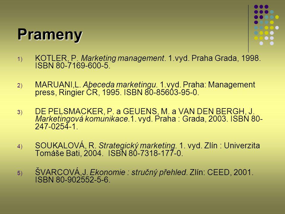 Prameny KOTLER, P. Marketing management. 1.vyd. Praha Grada, 1998. ISBN 80-7169-600-5.