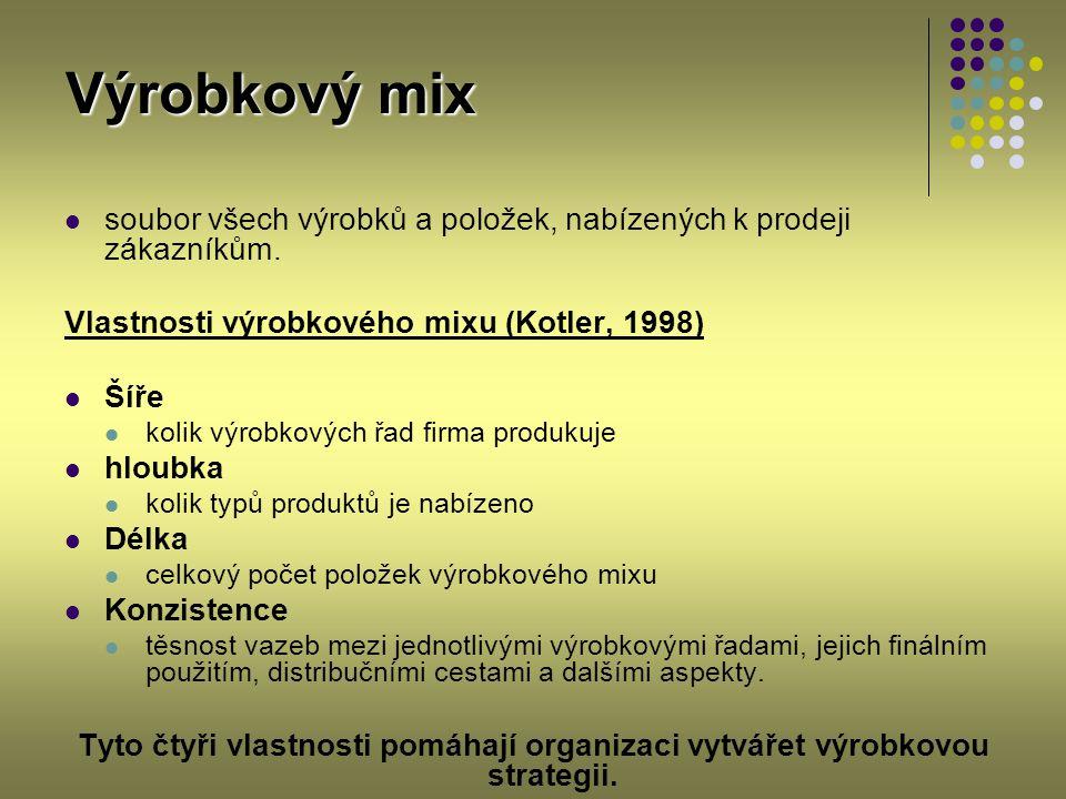 Výrobkový mix soubor všech výrobků a položek, nabízených k prodeji zákazníkům. Vlastnosti výrobkového mixu (Kotler, 1998)