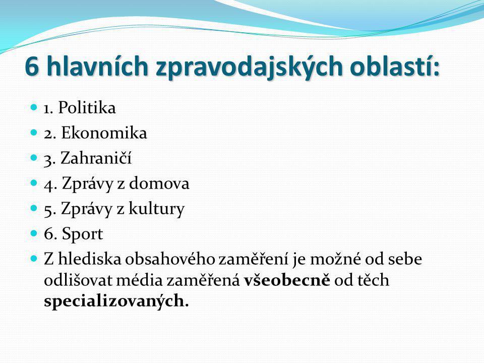 6 hlavních zpravodajských oblastí: