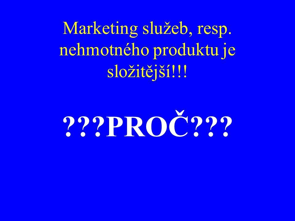 Marketing služeb, resp. nehmotného produktu je složitější!!!