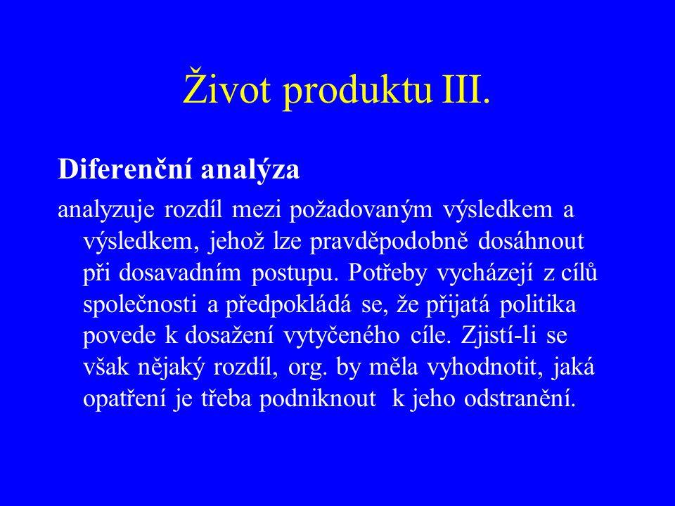 Život produktu III. Diferenční analýza