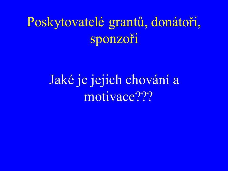 Poskytovatelé grantů, donátoři, sponzoři