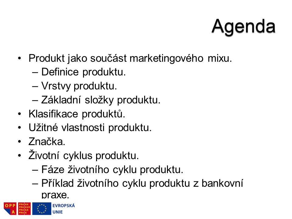Agenda Produkt jako součást marketingového mixu. Definice produktu.