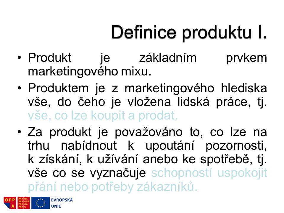 Definice produktu I. Produkt je základním prvkem marketingového mixu.