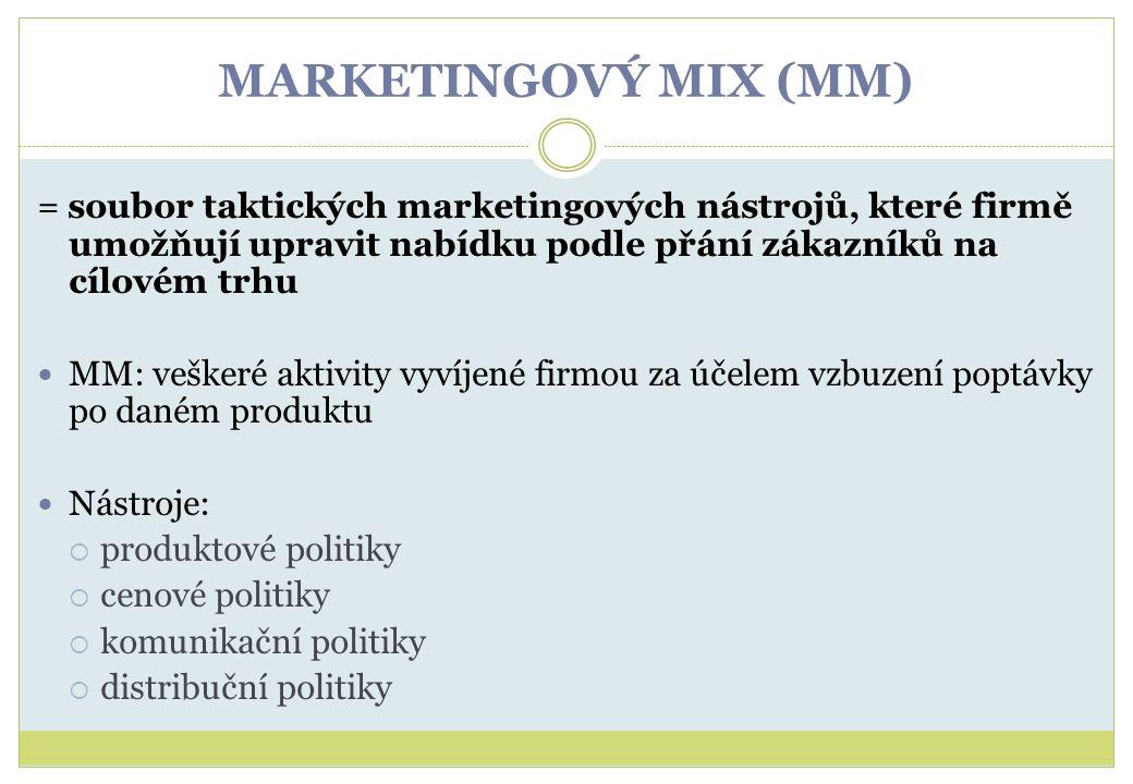 MARKETINGOVÝ MIX (MM) = soubor taktických marketingových nástrojů, které firmě umožňují upravit nabídku podle přání zákazníků na cílovém trhu.