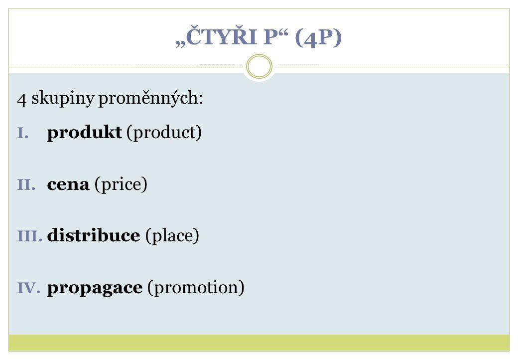 """""""ČTYŘI P (4P) 4 skupiny proměnných: produkt (product) cena (price)"""