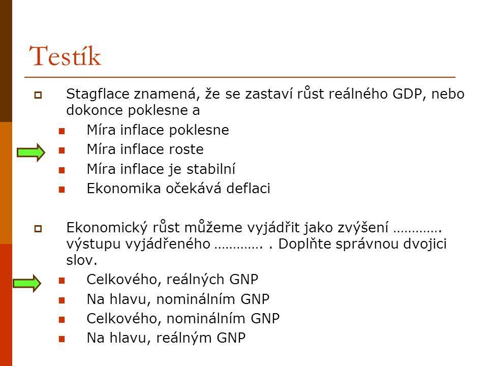 Testík Stagflace znamená, že se zastaví růst reálného GDP, nebo dokonce poklesne a. Míra inflace poklesne.