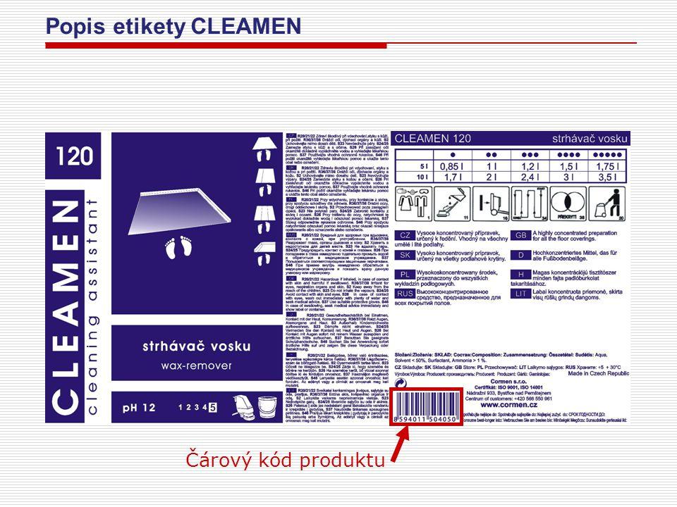 Popis etikety CLEAMEN Čárový kód produktu
