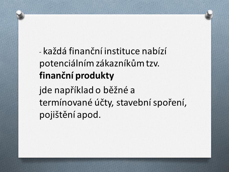 - každá finanční instituce nabízí potenciálním zákazníkům tzv