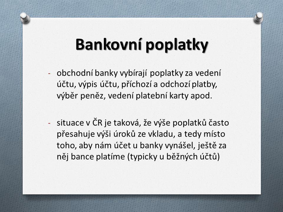 Bankovní poplatky obchodní banky vybírají poplatky za vedení účtu, výpis účtu, příchozí a odchozí platby, výběr peněz, vedení platební karty apod.