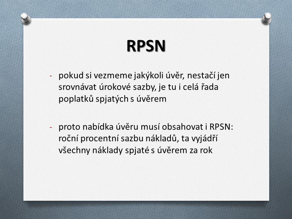 RPSN pokud si vezmeme jakýkoli úvěr, nestačí jen srovnávat úrokové sazby, je tu i celá řada poplatků spjatých s úvěrem.