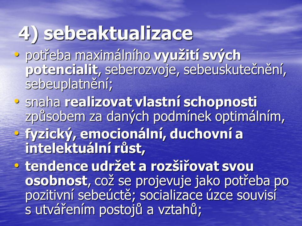 4) sebeaktualizace potřeba maximálního využití svých potencialit, seberozvoje, sebeuskutečnění, sebeuplatnění;