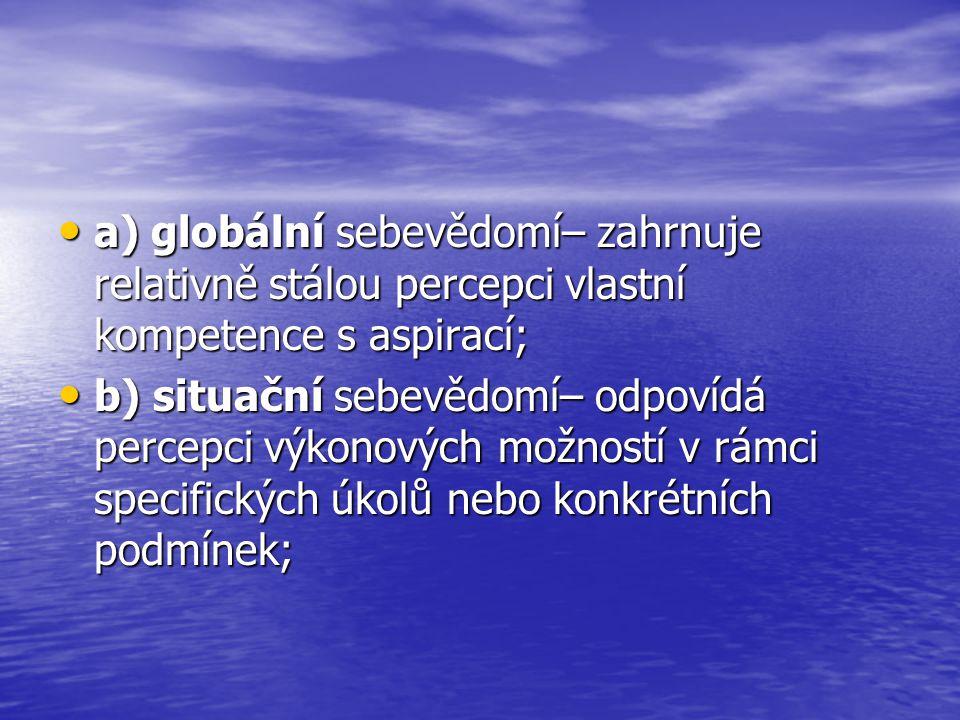 a) globální sebevědomí– zahrnuje relativně stálou percepci vlastní kompetence s aspirací;