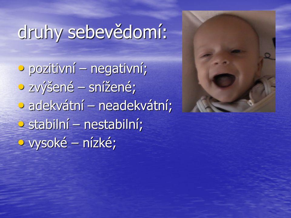 druhy sebevědomí: pozitivní – negativní; zvýšené – snížené;
