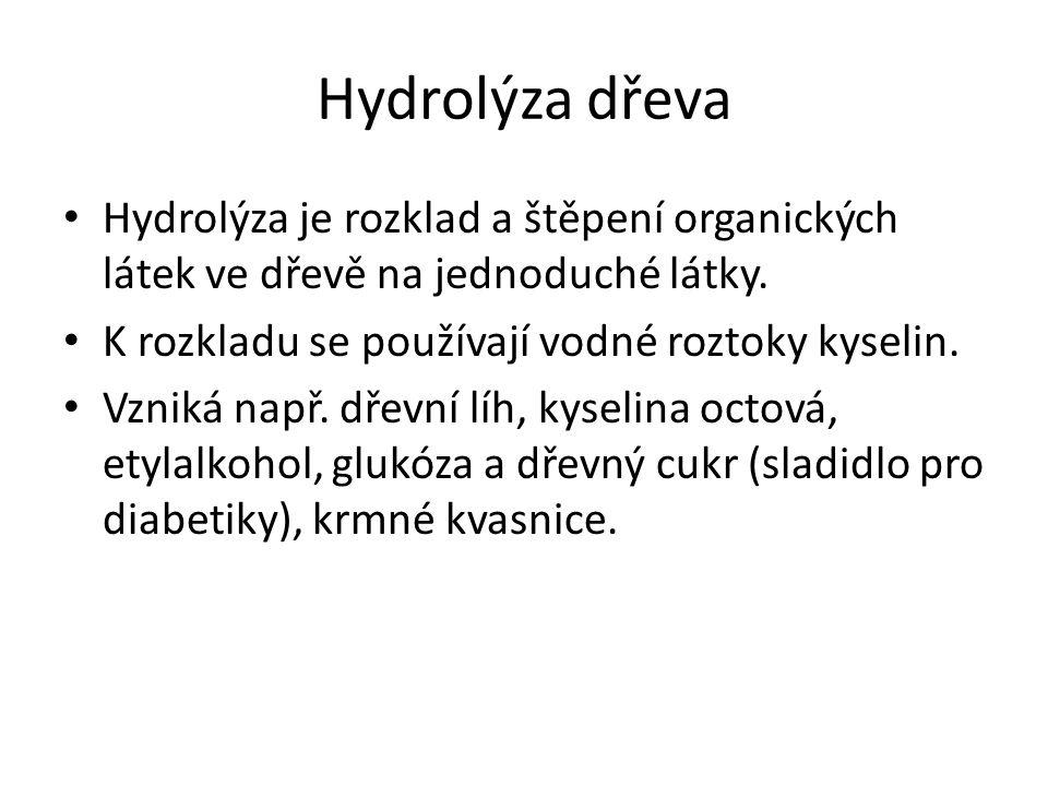 Hydrolýza dřeva Hydrolýza je rozklad a štěpení organických látek ve dřevě na jednoduché látky. K rozkladu se používají vodné roztoky kyselin.