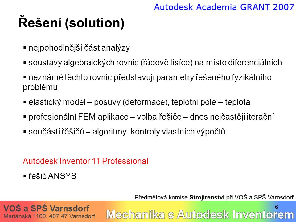 Řešení (solution) nejpohodlnější část analýzy