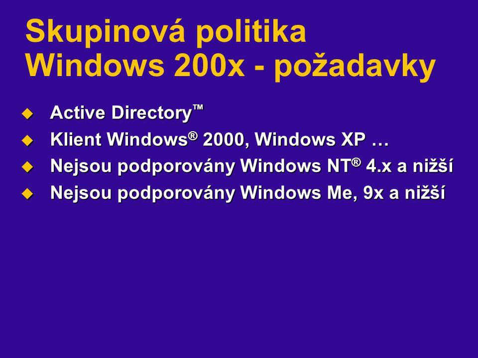 Skupinová politika Windows 200x - požadavky