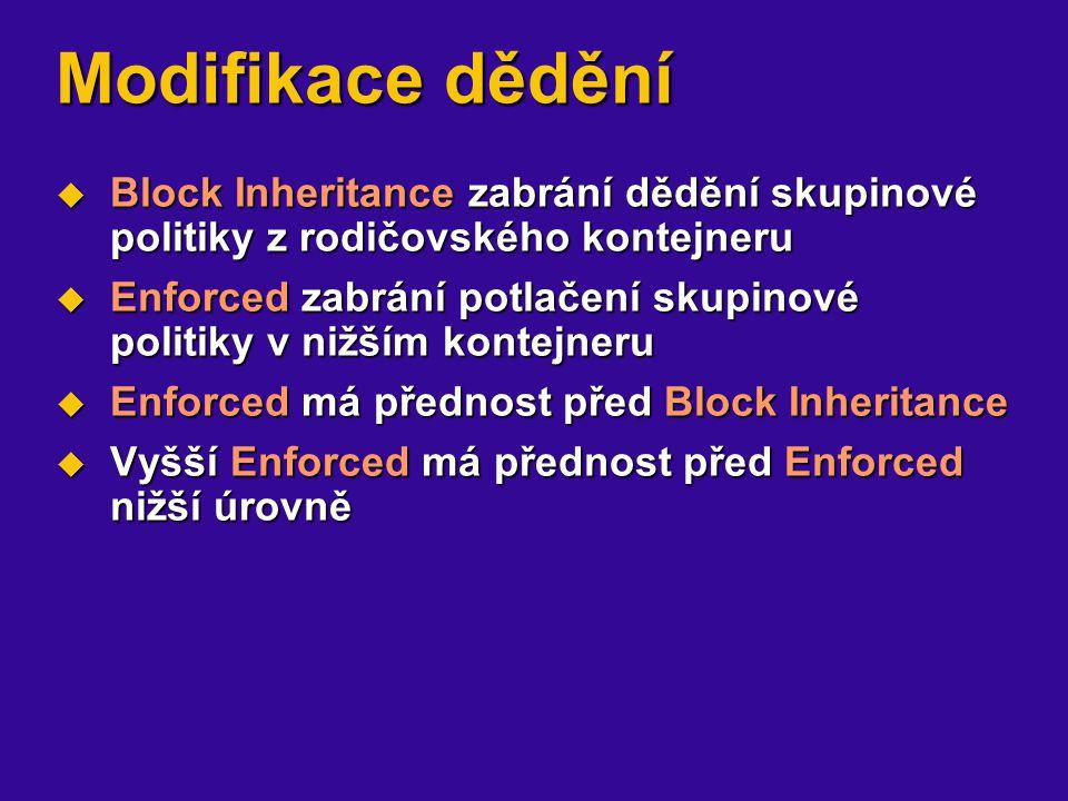 Modifikace dědění Block Inheritance zabrání dědění skupinové politiky z rodičovského kontejneru.
