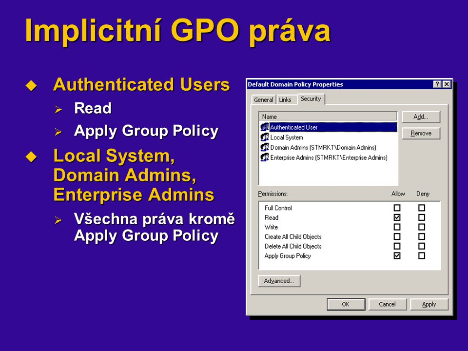 Implicitní GPO práva Authenticated Users