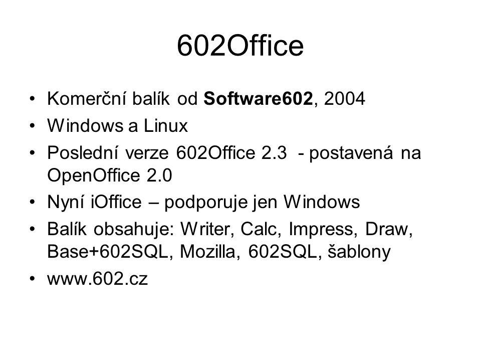 602Office Komerční balík od Software602, 2004 Windows a Linux