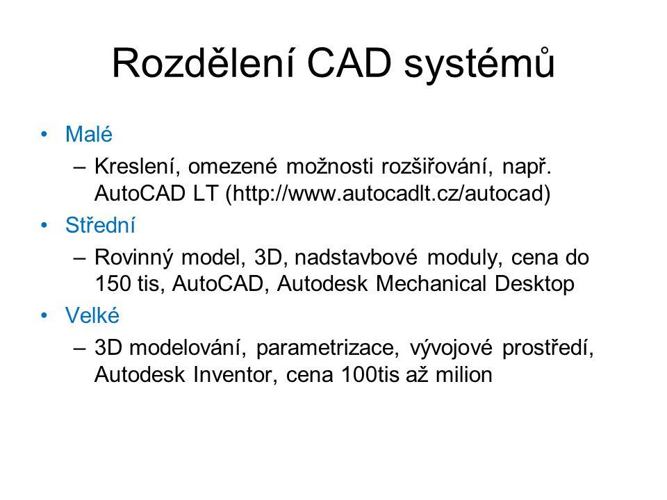 Rozdělení CAD systémů Malé
