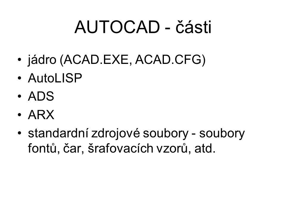 AUTOCAD - části jádro (ACAD.EXE, ACAD.CFG) AutoLISP ADS ARX