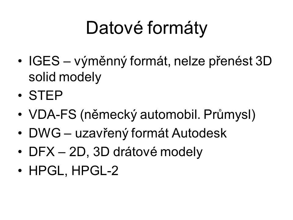 Datové formáty IGES – výměnný formát, nelze přenést 3D solid modely