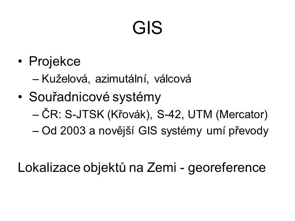 GIS Projekce Souřadnicové systémy