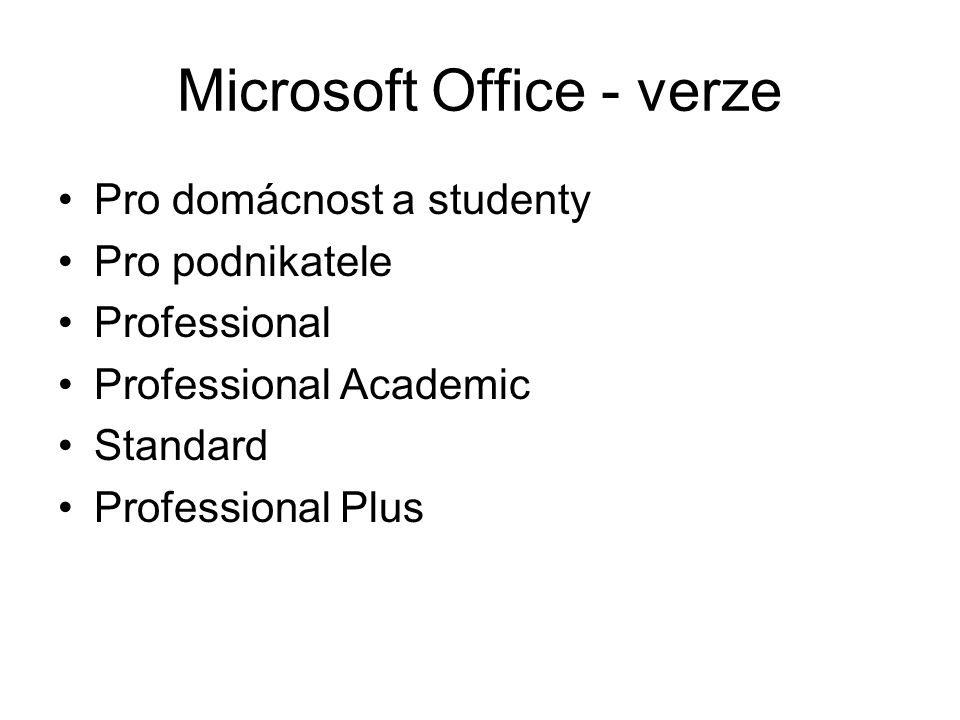 Microsoft Office - verze