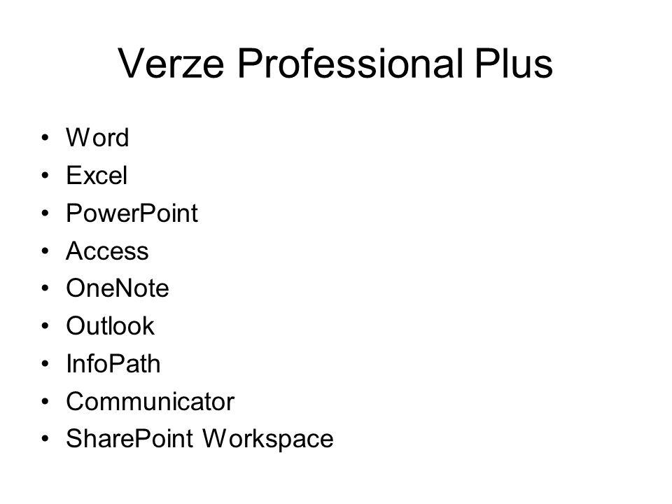 Verze Professional Plus