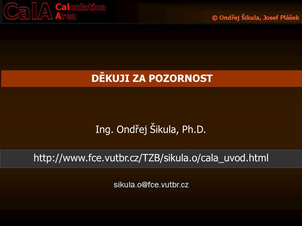 DĚKUJI ZA POZORNOST Ing. Ondřej Šikula, Ph.D.
