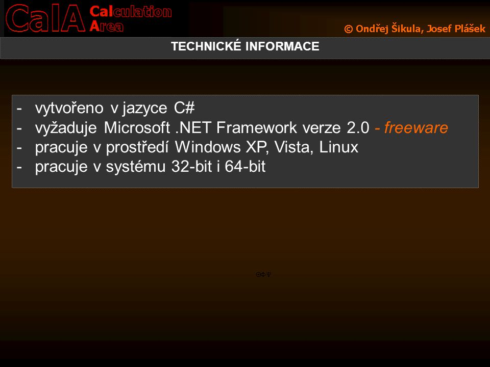 vyžaduje Microsoft .NET Framework verze 2.0 - freeware