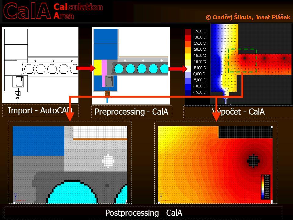 Výpočet - CalA Import - AutoCAD Preprocessing - CalA Postprocessing - CalA