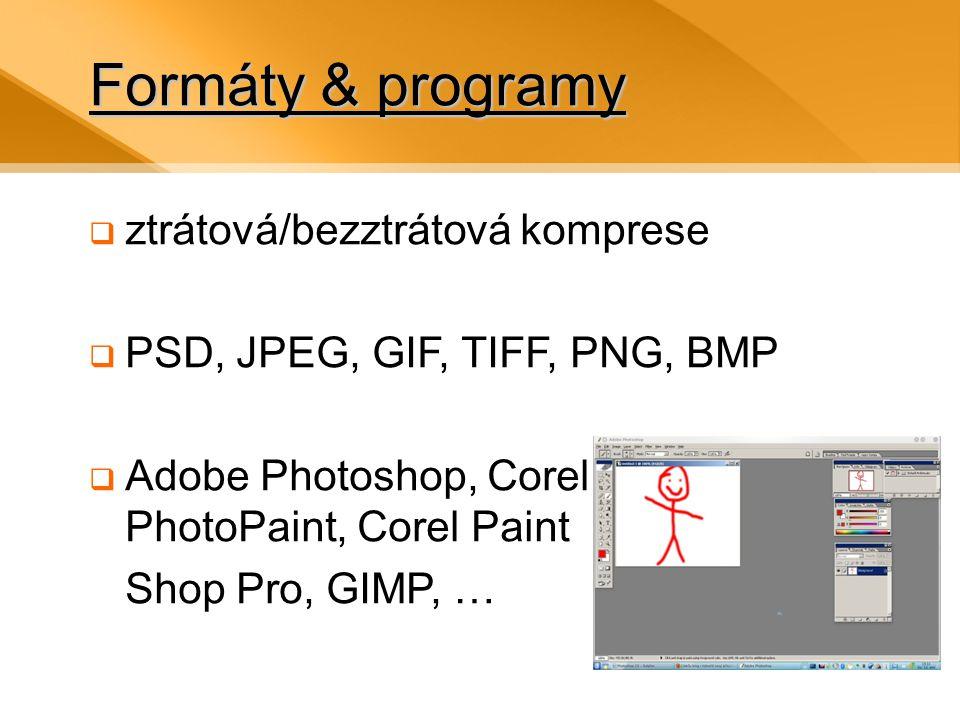 Formáty & programy ztrátová/bezztrátová komprese