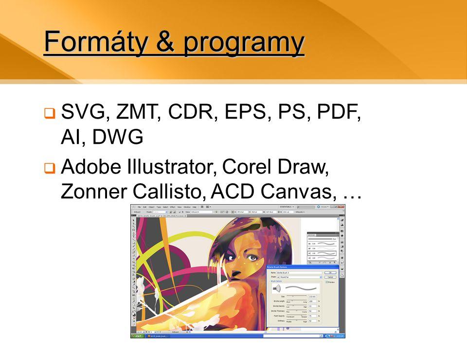 Formáty & programy SVG, ZMT, CDR, EPS, PS, PDF, AI, DWG
