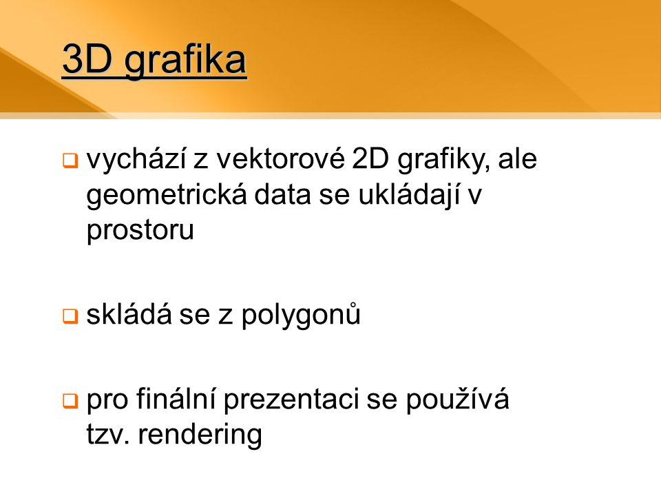 3D grafika vychází z vektorové 2D grafiky, ale geometrická data se ukládají v prostoru. skládá se z polygonů.
