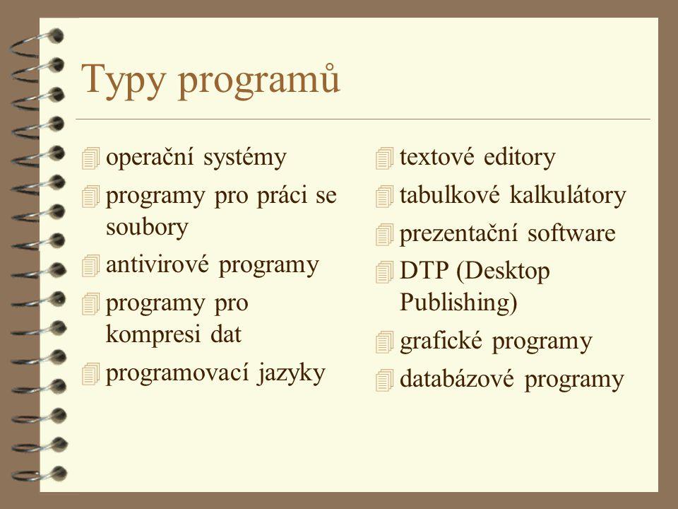 Typy programů operační systémy programy pro práci se soubory