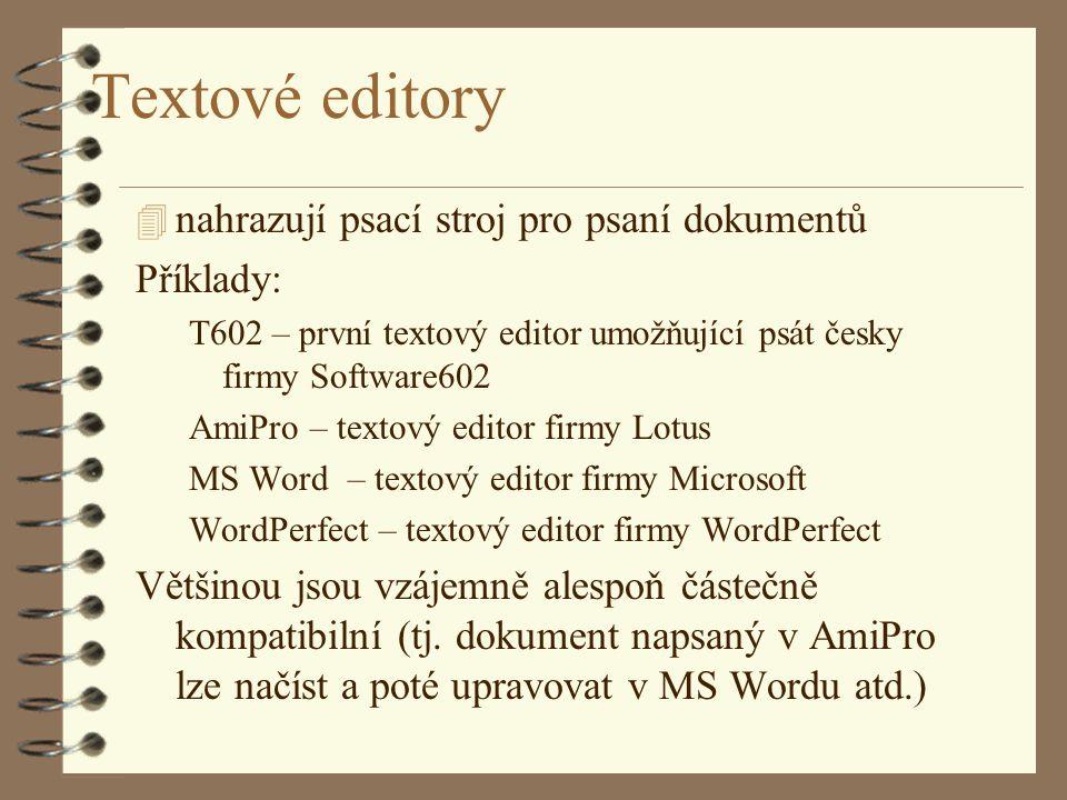 Textové editory nahrazují psací stroj pro psaní dokumentů Příklady: