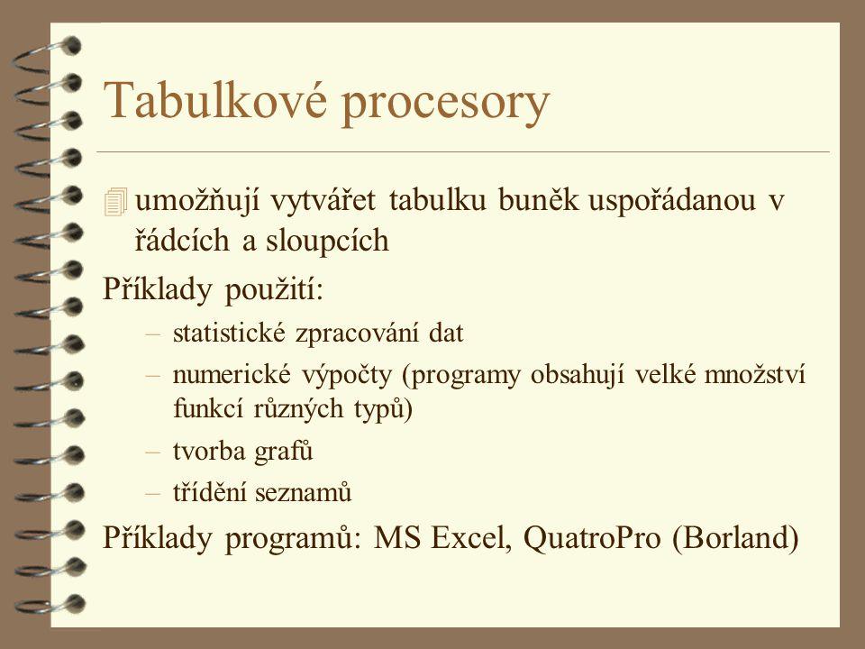 Tabulkové procesory umožňují vytvářet tabulku buněk uspořádanou v řádcích a sloupcích. Příklady použití:
