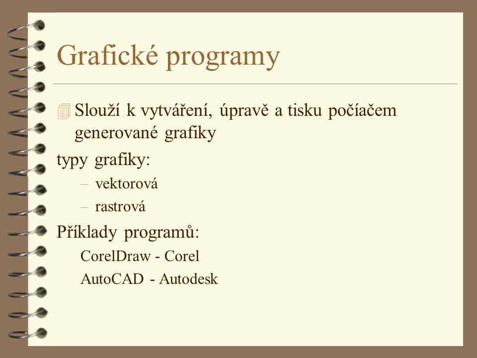 Grafické programy Slouží k vytváření, úpravě a tisku počíačem generované grafiky. typy grafiky: vektorová.