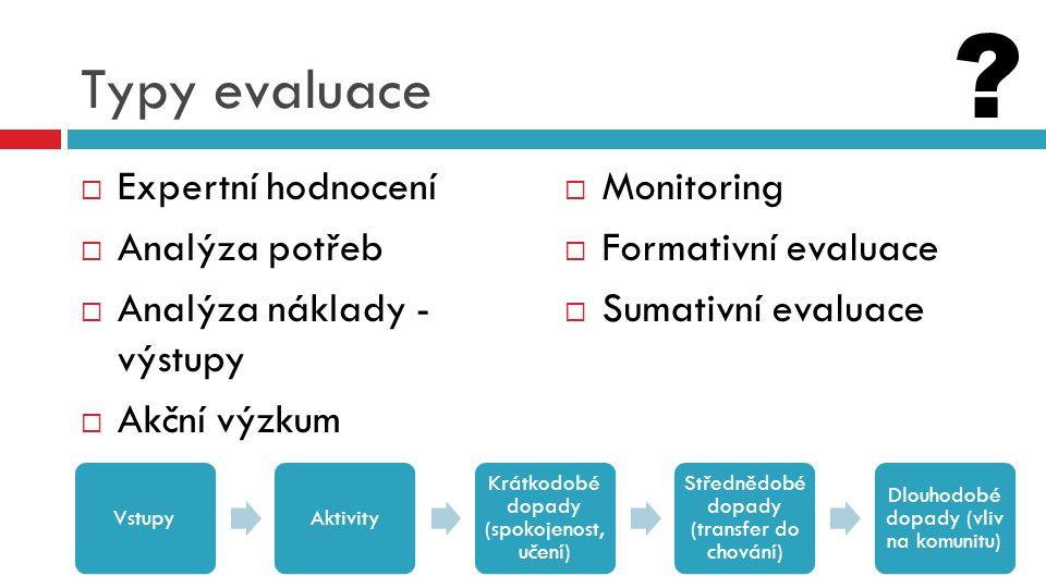Typy evaluace Expertní hodnocení Analýza potřeb