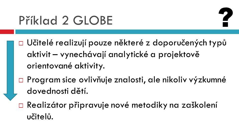Příklad 2 GLOBE Učitelé realizují pouze některé z doporučených typů aktivit – vynechávají analytické a projektově orientované aktivity.