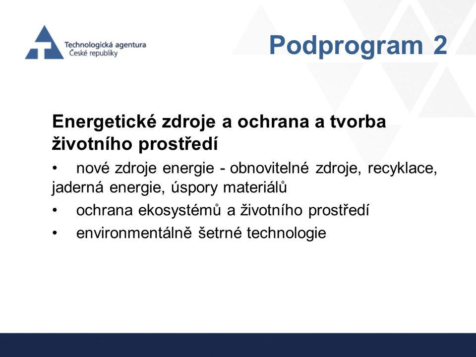 Podprogram 2 Energetické zdroje a ochrana a tvorba životního prostředí