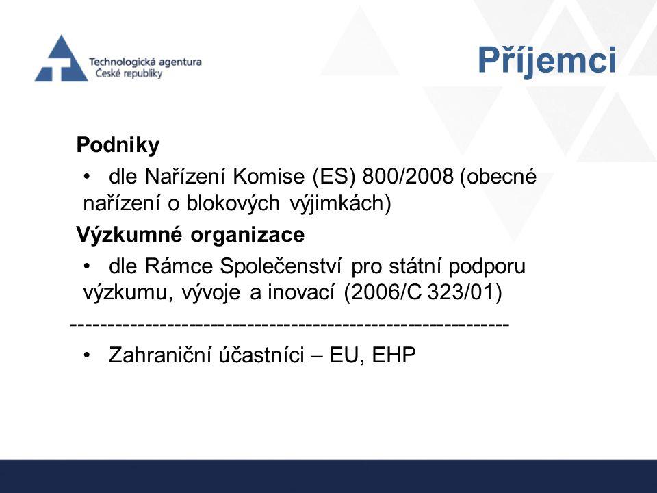 Příjemci Podniky. dle Nařízení Komise (ES) 800/2008 (obecné nařízení o blokových výjimkách) Výzkumné organizace.