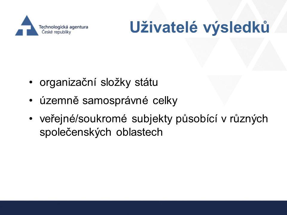 Uživatelé výsledků organizační složky státu územně samosprávné celky