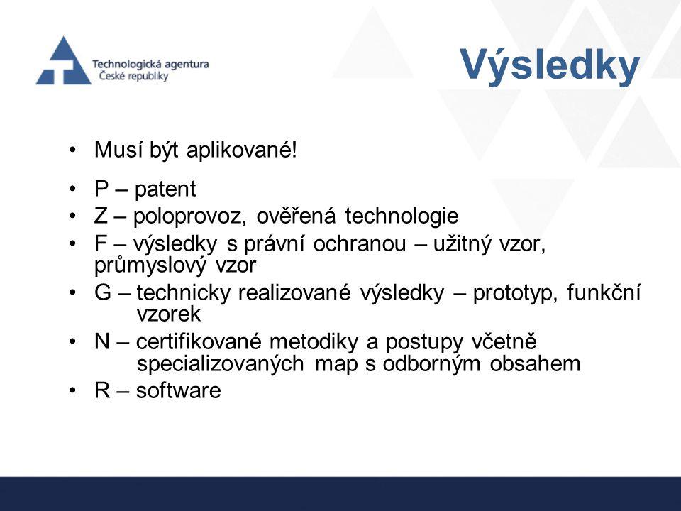 Výsledky Musí být aplikované! P – patent