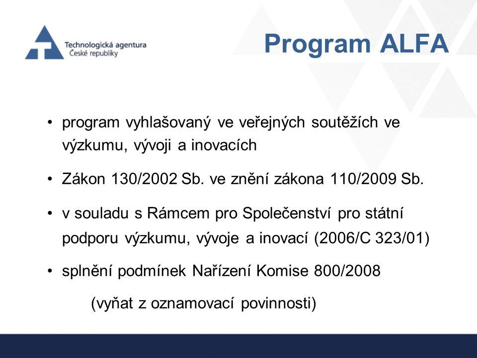 Program ALFA program vyhlašovaný ve veřejných soutěžích ve výzkumu, vývoji a inovacích. Zákon 130/2002 Sb. ve znění zákona 110/2009 Sb.