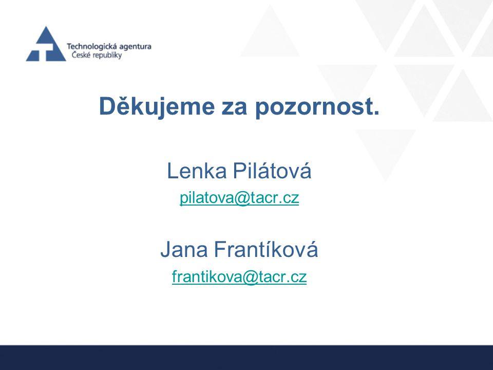 Děkujeme za pozornost. Lenka Pilátová Jana Frantíková pilatova@tacr.cz